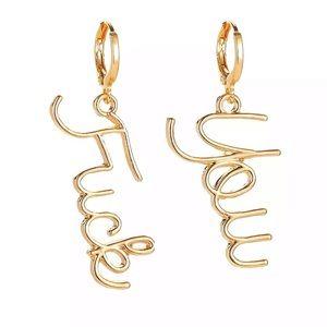 Gold Plated Fuck You Dangling Earrings
